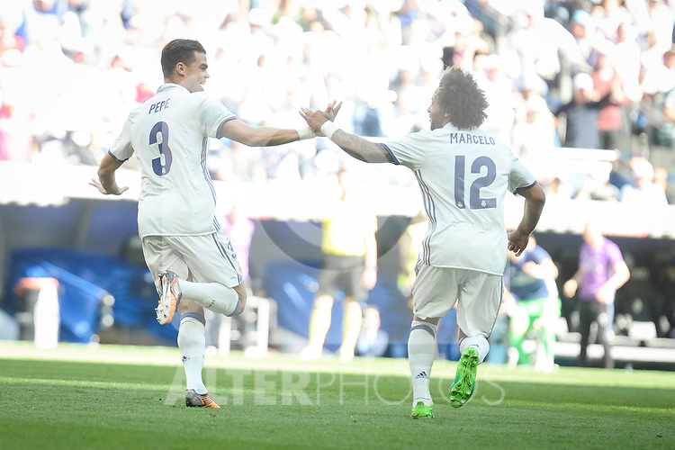 Real Madrid's Pepe and Marcelo celebrating a goal during La Liga match between Real Madrid and Atletico de Madrid at Santiago Bernabeu Stadium in Madrid, April 08, 2017. Spain.<br /> (ALTERPHOTOS/BorjaB.Hojas)