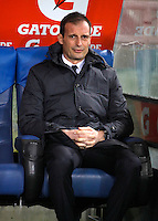 Calcio, quarti di finale di Coppa Italia: Lazio vs Juventus. Roma, stadio Olimpico, 20 gennaio 2016.<br /> Juventus coach Massimiliano Allegri sits on the bench during the Italian Cup quarter final football match between Lazio and Juventus at Rome's Olympic stadium, 20 January 2016.<br /> UPDATE IMAGES PRESS/Isabella Bonotto