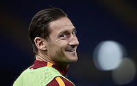 Calcio, Serie A: Roma, Stadio Olimpico, 7 febbraio 2017.<br /> Roma's Francesco Totti smiles as he warms up during the Italian Serie A football match between AS Roma and Fiorentina at Roma's Olympic Stadium, on February 7, 2017.<br /> UPDATE IMAGES PRESS/Isabella Bonotto
