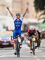 Picture by Alex Broadway/SWpix.com - 12/03/17 - Cycling - 2017 Paris Nice - Stage Eight - Nice to Nice - David de la Cruz of Quick-Step Floors celebrates winning the stage.