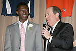 11 January 2008:  Patrick Nyarko (Ghana) of Virginia Tech (l), the top runner-up vote getter for the 2007 Hermann Trophy, being interviewed by Bill McDermott.....The 2007 Hermann Trophy was presented to the NCAA Division I female and male players of the year by the Missouri Athletic Club in St. Louis, Missouri.