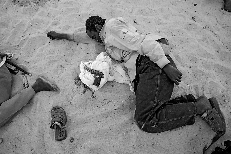 Western Sudan, June 16, 2004.A group of 'SLA' rebels rests after an operation against the janjavid militia in West Darfour.
