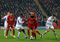 5th November 2019; Anfield, Liverpool, Merseyside, England; UEFA Champions League Football, Liverpool versus Genk; Mohammed Salah of Liverpool attempts to find a way past Carlos Cuesta and Sander Berge of KRC Genk