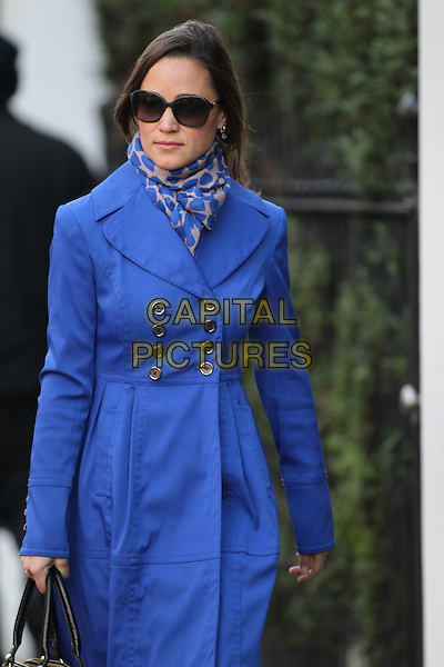 Pippa Middleton arrives for work, London, England..December 13th, 2011.half length sunglasses shades blue jacket scarf print.CAP/HIL.©John Hillcoat/Capital Pictures .
