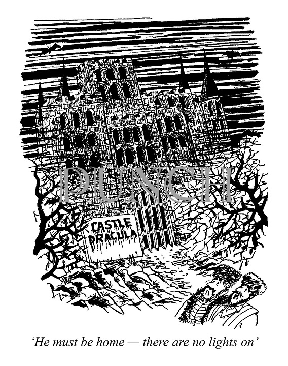 'He must be home - there are no lights on' (passers by walk past Castle Dracula)