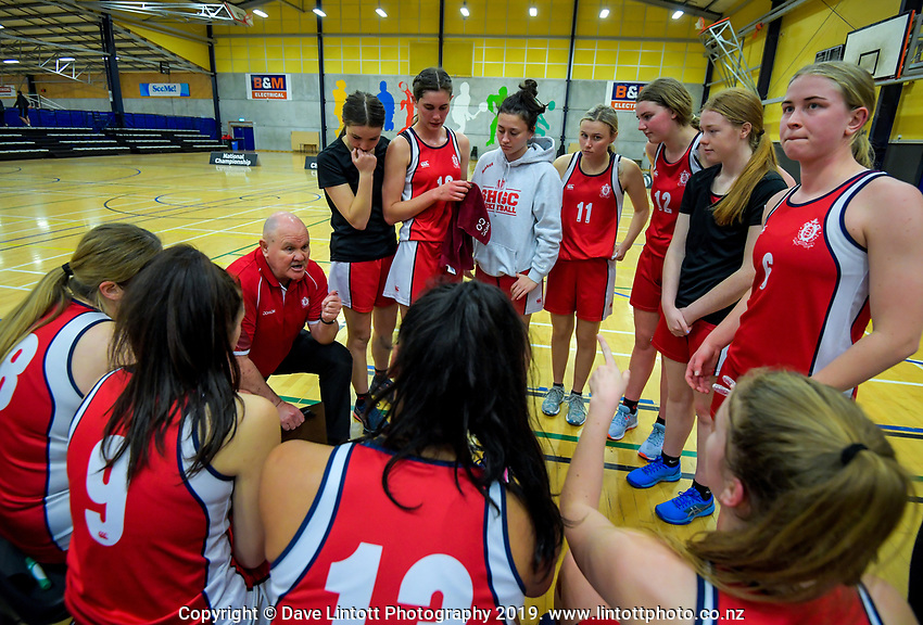 Action from the 2019 Schick AA Girls' Secondary Schools Basketball National Championships 5th place playoff between Sacred Heart Girls' College New Plymouth and Queen Margaret College at the Central Energy Trust Arena in Palmerston North, New Zealand on Saturday, 5 October 2019. Photo: Dave Lintott / lintottphoto.co.nz