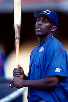 Vladimir Guerrero of the Montreal Expos participates in a Major League Baseball game at Dodger Stadium during the 1998 season in Los Angeles, California. (Larry Goren/Four Seam Images)