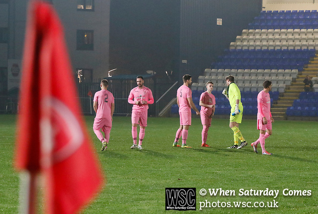 Coventry United 3 Highgate United 5, 17/10/2017. Butts Park Arena, Birmingham Senior Cup. Highgate players in the pink kit, before kick off.  Photo by Paul Thompson.