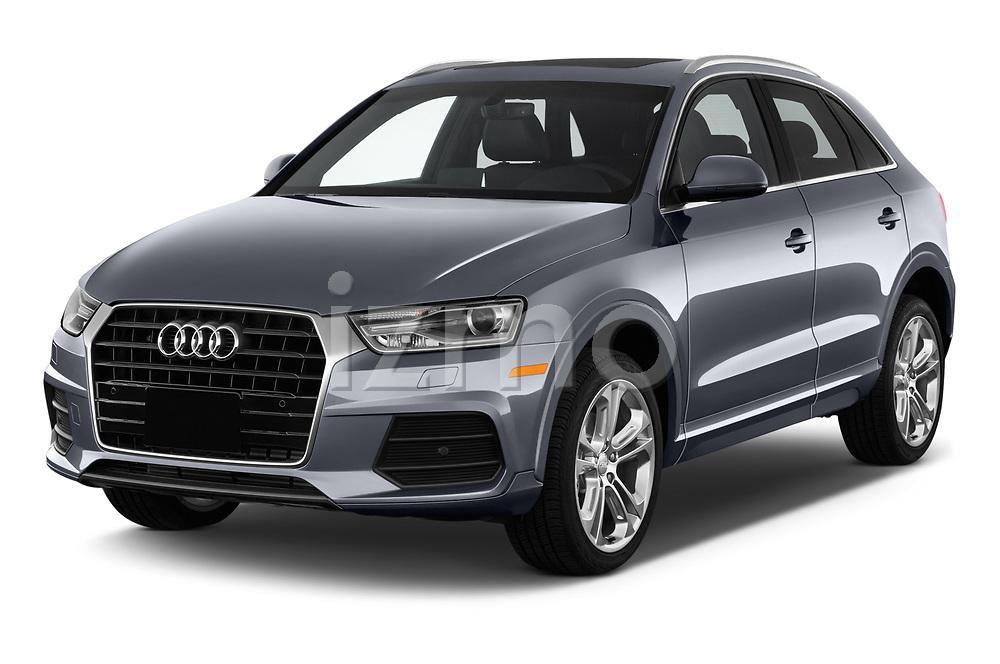 2018 Audi Q3  2.0T-FWD-tiptronic-Premium-Plus  5 Door SUV angular front stock photos of front three quarter view
