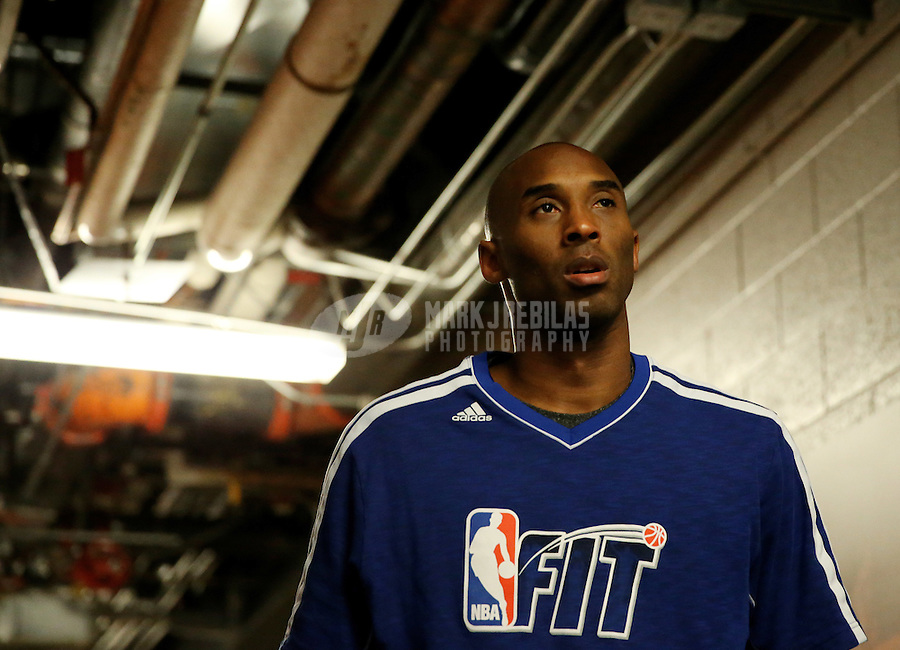 Jan. 30, 2013; Phoenix, AZ, USA: Los Angeles Lakers guard Kobe Bryant prior to the game against the Phoenix Suns at the US Airways Center. Mandatory Credit: Mark J. Rebilas-