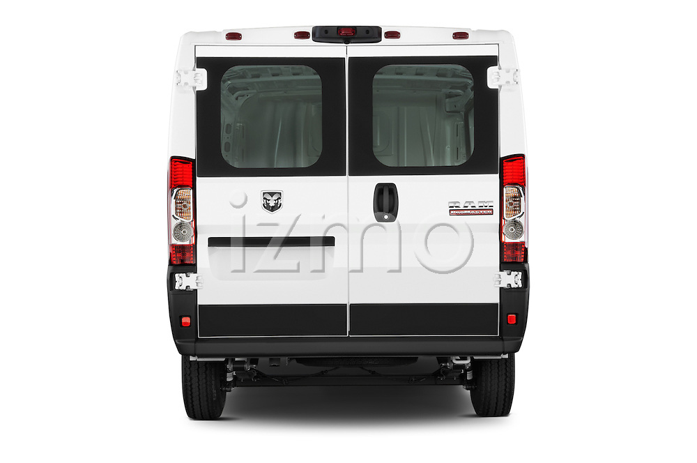 Straight rear view of a 2017 Ram ProMaster 1500 118 WB Low Roof 2 Door Cargo Van stock images