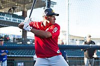 AFL East second baseman Jahmai Jones (9), of the Mesa Solar Sox and Los Angeles Angels organization, during batting practice before the Fall Stars game at Surprise Stadium on November 3, 2018 in Surprise, Arizona. The AFL West defeated the AFL East 7-6 . (Zachary Lucy/Four Seam Images)