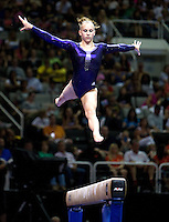 Brenna Dowell of GAGE competes on the beam during the 2012 US Olympic Trials competition at HP Pavilion in San Jose, California on June 29th, 2012.