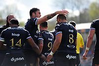Taulupe Faletau of Bath Rugby celebrates his try with team-mate Matt Banahan. European Rugby Challenge Cup Quarter Final, between Bath Rugby and CA Brive on April 1, 2017 at the Recreation Ground in Bath, England. Photo by: Patrick Khachfe / Onside Images