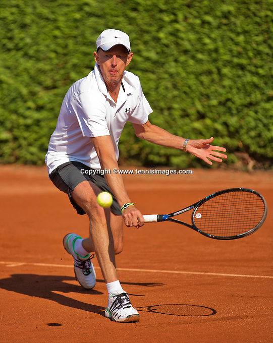 Netherlands, Amstelveen, August 23, 2015, Tennis,  National Veteran Championships, NVK, TV de Kegel,  Men's single final 60+ years: Martin Koek<br /> Photo: Tennisimages/Henk Koster