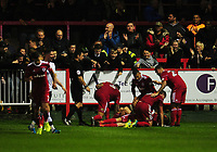 Accrington Stanley's Jordan Clark is mobbed by team-mates as he celebrates scoring his sides second goal <br /> <br /> Photographer Kevin Barnes/CameraSport<br /> <br /> The Carabao Cup - Accrington Stanley v Preston North End - Tuesday 8th August 2017 - Crown Ground - Accrington<br />  <br /> World Copyright &copy; 2017 CameraSport. All rights reserved. 43 Linden Ave. Countesthorpe. Leicester. England. LE8 5PG - Tel: +44 (0) 116 277 4147 - admin@camerasport.com - www.camerasport.com
