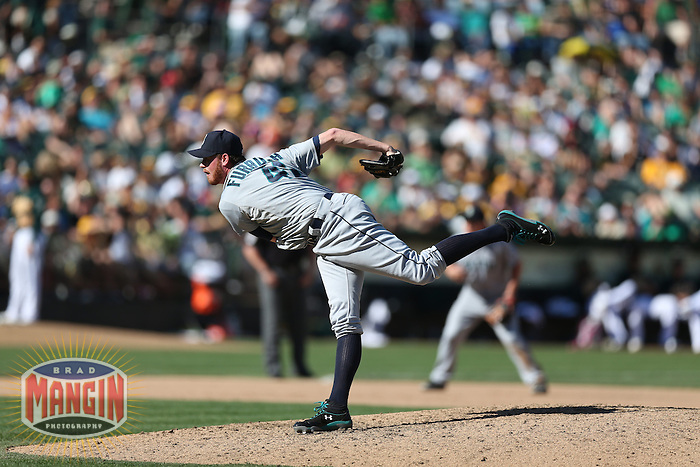 OAKLAND, CA - SEPTEMBER 30:  Charlie Furbush #41 of the Seattle Mariners pitches against the Oakland Athletics during the game at O.co Coliseum on Sunday, September 30, 2012 in Oakland, California. Photo by Brad Mangin