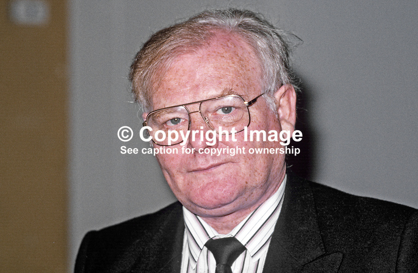 Brian Nicholson, chairman, Transport &amp; General Workers Union, T&amp;GWU, 19870917BN.<br /> <br /> Copyright Image from Victor Patterson, 54 Dorchester Park, <br /> Belfast, UK, BT9 6RJ<br /> <br /> t1: +44 28 9066 1296 (from Rep of Ireland 048 9066 1296)<br /> t2: +44 28 9002 2446 (from Rep of Ireland 048 9002 2446)<br /> m: +44 7802 353836<br /> <br /> e: victorpatterson@me.com<br /> www.victorpatterson.com<br /> <br /> Please see my Terms and Conditions of Use at www.victorpatterson.com. It is IMPORTANT that you familiarise yourself with them.<br /> <br /> Images used on the Internet must be visibly watermarked i.e. &copy; Victor Patterson<br /> within the body of the image and copyright metadata must not be deleted. Images <br /> used on the Internet have a size restriction of 4kbs and will be chargeable at current<br />  NUJ rates unless agreed otherwise.<br /> <br /> This image is only available for the use of the download recipient i.e. television station, newspaper, magazine, book publisher, etc, and must not be passed on to any third <br /> party. It is also downloaded on condition that each and every usage is notified within 7 days to victorpatterson@me.com<br /> <br /> The right of Victor Patterson to be identified as the author is asserted in accordance with The Copyright Designs And Patents Act (1988). All moral rights are asserted