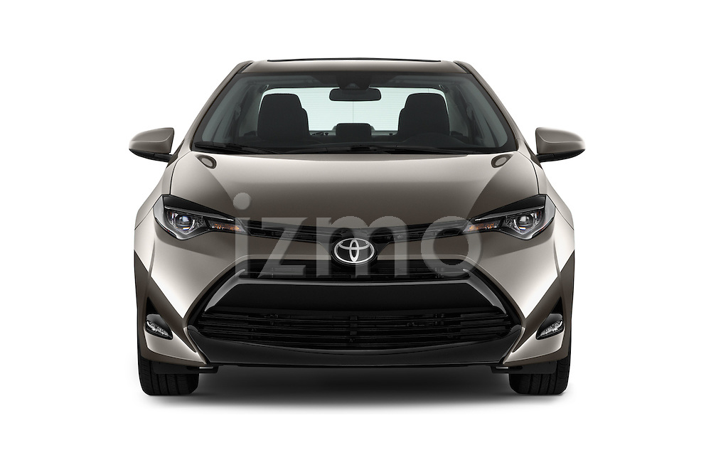 Car photography straight front view of a 2018 Toyota Corolla LE-Eco-AT 4 Door Sedan Front View