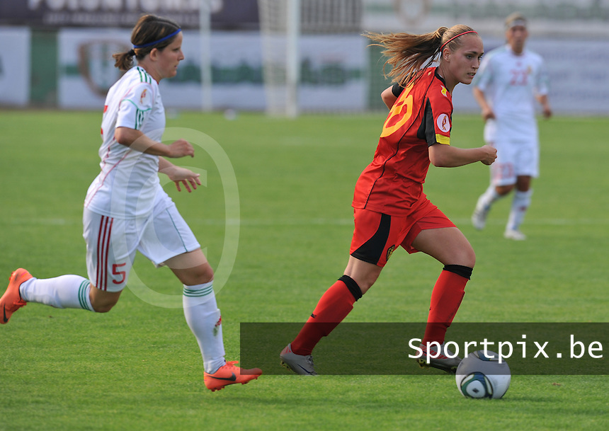 Hungary - Hongarije : UEFA Women's Euro Qualifying group stage (Group 3) - 20/06/2012 - 17:00 - szombathely  - : Hungary ( Hongarije ) - BELGIUM ( Belgie) :.Janice Cayman en Timea Gal.foto DAVID CATRY / JOKE VUYLSTEKE / Vrouwenteam.be.