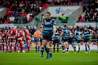Saturday 10 May 2014<br /> Pictured: Cory Allen go the Blues <br /> Re: Scarlets v Blues Rabo Direct Pro 12 Rugby Union Match at Parc y Scarlets, Llanelli, Wales