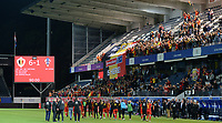 20190903 - LEUVEN , BELGIUM : Belgian players , fans and supporters pictured celebrating the 6-1 win during the female soccer game between the Belgian Red Flames and Croatia , the first womensoccer game for Belgium in the qualification for the European Championship round in group H for England 2021, Tuesday 3 th September 2019 at the King Power Stadion Den Dreef in Leuven , Belgium. PHOTO SPORTPIX.BE | DAVID CATRY