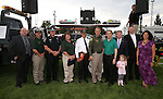 Regional dignitaries, from left, Ken Gray, CCSO Chaplain Joel Buxton, NHP Chief Troy Abney, CCSO D.A.R.E. Officer Lisa Davis, Gary Armstrong, CCSO Sheriff Ken Furlong, Mayor Bob Crowell, Gerald Gardner, Mark Sutliff and Yolanda Garcia participated in the 11th annual National Night Out hosted by the Carson City Sheriff's Office in Carson City, Nev., on Tuesday, Aug. 6, 2013. <br />