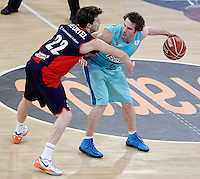 Caja Laboral Baskonia's Thomas Heurtel (l) and FC Barcelona Regal's Marcelinho Huertas during Spanish Basketball King's Cup semifinal match.February 07,2013. (ALTERPHOTOS/Acero) /NortePhoto