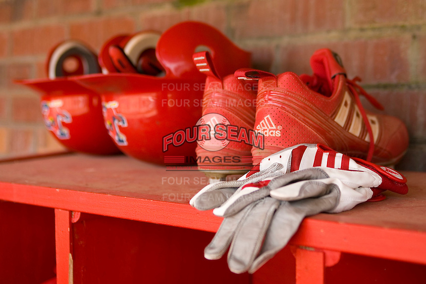 Johnson City Cardinals equipment sits on top of the helmet rack at Howard Johnson Stadium June 27, 2009 in Johnson City, Tennessee. (Photo by Brian Westerholt / Four Seam Images)