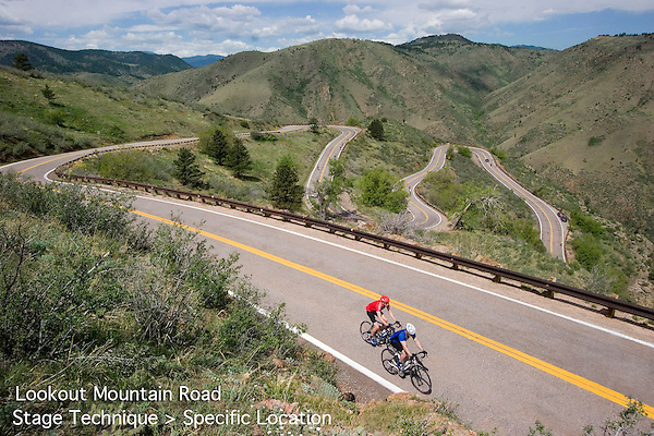 Cyclists on Lookout Mountain Road, John offers private photo tours and workshops throughout Colorado. Year-round.