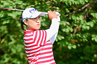Amy Yang (KOR) watches her tee shot on 11 during Friday's round 2 of the 2017 KPMG Women's PGA Championship, at Olympia Fields Country Club, Olympia Fields, Illinois. 6/30/2017.<br />