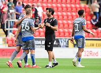 Lincoln City's Harry Anderson, left, shakes hands with Lincoln City manager Danny Cowley at the end of the game<br /> <br /> Photographer Chris Vaughan/CameraSport<br /> <br /> The EFL Sky Bet Championship - Rotherham United v Lincoln City - Saturday 10th August 2019 - New York Stadium - Rotherham<br /> <br /> World Copyright © 2019 CameraSport. All rights reserved. 43 Linden Ave. Countesthorpe. Leicester. England. LE8 5PG - Tel: +44 (0) 116 277 4147 - admin@camerasport.com - www.camerasport.com