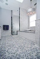 Arabella, a natural stone waterjet and hand cut mosaic shown in Carrara and Thassos, is part of the Silk Road Collection by Sara Baldwin for New Ravenna Mosaics.<br /> -photo courtesy of Architectural Ceramics, Inc