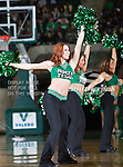 North Texas Mean Green cheerleaders in action during the game between the Denver Pioneers and the University of North Texas Mean Green at the North Texas Coliseum,the Super Pit, in Denton, Texas. UNT defeated Denver 75 to 74 in overtime.