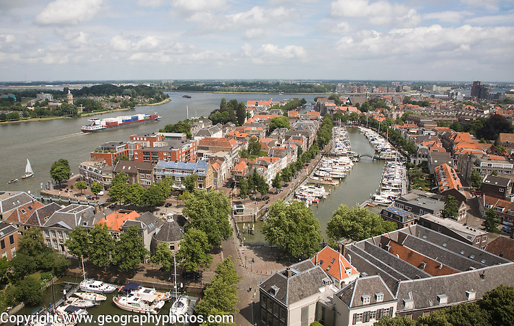 View looking over rooftops in the historic city centre of Dordrecht, Netherlands