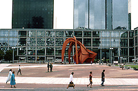 Paris: La Defense--looking north--seemingly abandoned exhibition hall and Calder Stabile. Photo '87.