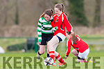 Lauen Burke Killarney Celtic goes on a mazy run against Kilcolman in the u14 FAI cup on Saturday in Celtic Park