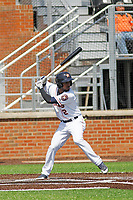 Buies Creek Astros infielder Osvaldo Duarte (2) at bat during a game against the Winston-Salem Dash at Jim Perry Stadium on the campus of Campbell University on April 9, 2017 in Buies Creek, North Carolina. Buies Creek defeated Winston-Salem 2-0. (Robert Gurganus/Four Seam Images)