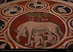 She-Wolf of Siena, Lupa Senese c. 1373, Floor Mosaic, Cathedral of Siena, Santa Maria Assunta, Siena, Italy