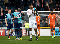 Goalkeeper Jamal Blackman of Wycombe Wanderers (on loan from Chelsea) applauds the fans during the Sky Bet League 2 match between Wycombe Wanderers and Blackpool at Adams Park, High Wycombe, England on the 11th March 2017. Photo by Liam McAvoy.