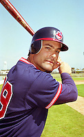 Cleveland Indians Mike Aldrete during Spring Training 1993 at Chain of Lakes Park in Winter Haven, Florida.  (MJA/Four Seam Images)