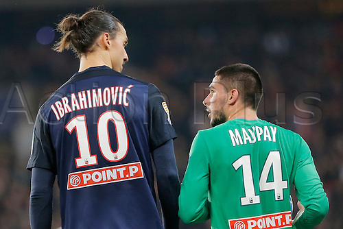 16.12.2015. Paris, France. French League Cup football. Paris St Germain versus St Etienne.  Zlatan Ibrahimovic (psg) gets upset with the challenge from Neal Maupay (AS Saint-Etienne)
