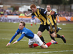 Dean Shiels fouled in the box by Dougie Brydon for a penalty kick at a cold Berwick Rangers