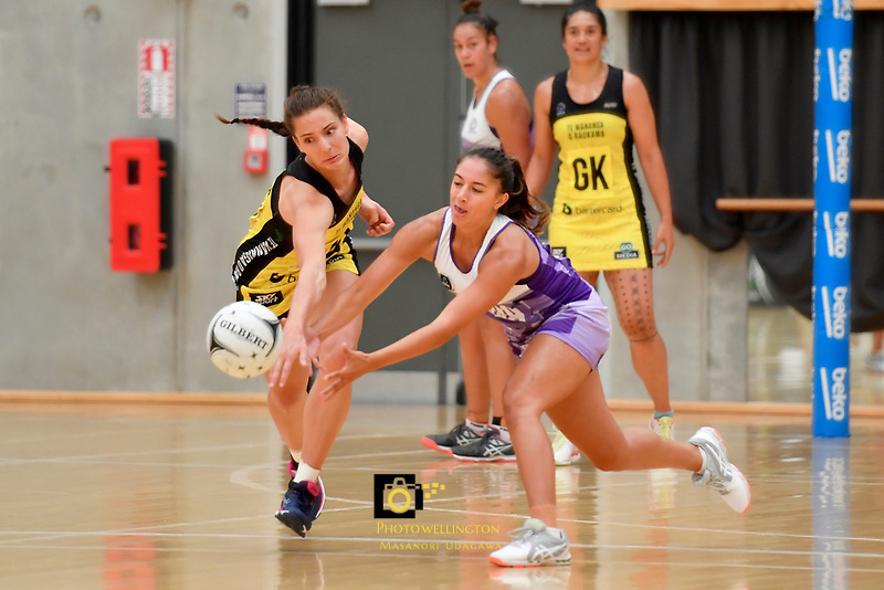 Pulse&rsquo; Karin Burger in action during the Netball Pre Season Tournament - Pulse v Stars at Ngā Purapura, Otaki, New Zealand on Saturday 9 February  2019. <br /> Photo by Masanori Udagawa. <br /> www.photowellington.photoshelter.com