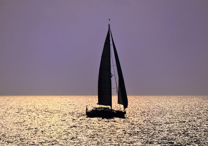 golden sailboat silhouette on long island sound at sunset | babylon