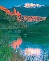 Fisher Towers & Colorado River, Utah   La Sal Mountains beyond    BLM lands Manti-La Sal National Forest    Near Moab
