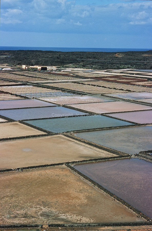 Salines de Rio toujours exploitees.  Ile de Lanzarote.