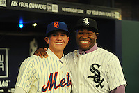 Shortstop Gavin Cecchini (Barbe H.S.) the number tweleve overall pick to the New York Mets and Outfielder Courtney Hawkins (Carroll H.S.) the number thirteen overall pick to the Chicago White Sox during the MLB Draft on Monday June 04,2012 at Studio 42 in Secaucus, NJ.   (Tomasso DeRosa/ Four Seam Images)