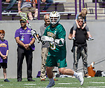 Ian MacKay (#45) initiates an attack as UAlbany Lacrosse defeats Vermont 14-4  in the American East Conference Championship game at Casey Stadium, May 5.