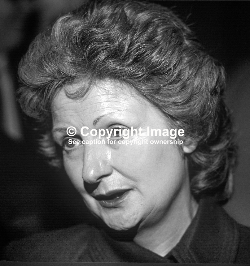 Florette Boyson, wife of Rhodes Boyson, MP, Conservative Party, junior minister, N Ireland Office, 19850509FB1.<br />